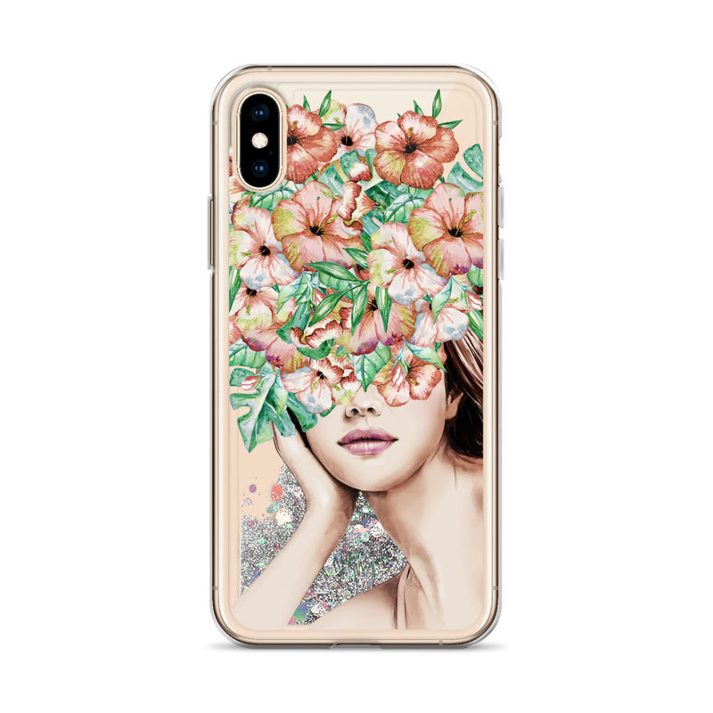 Fashion Girl Glitter iPhone Case with Flowers by Nature Magick