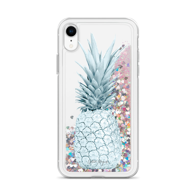 Pineapple Glitter iPhone Case Turquoise Teal by Nature Magick