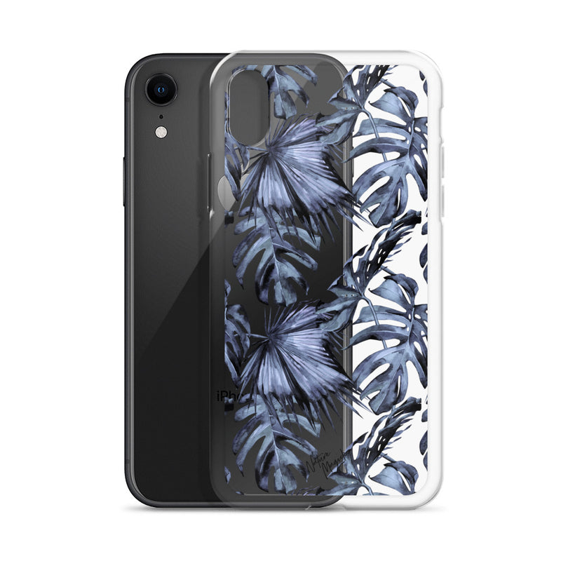Clear Tropical Palm Leaf iPhone Case Blue by Nature Magick