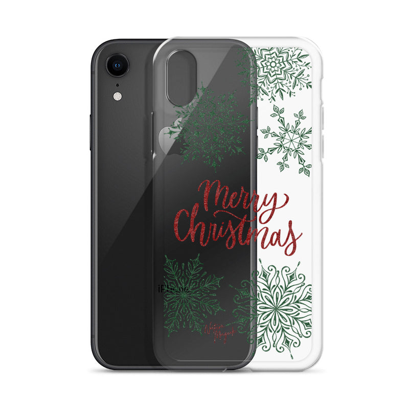 Clear Christmas iPhone Case Merry Christmas Snowflakes by Nature Magick