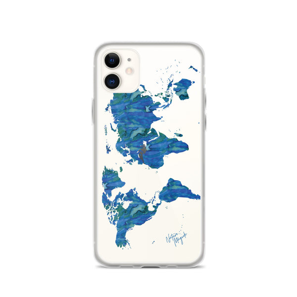 Clear World Map iPhone Case by Nature Magick in Ocean Blue