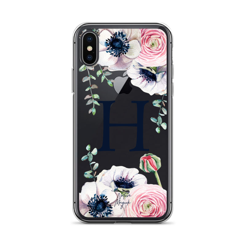"Clear Monogram iPhone Case Initial ""H"" Rose Flowers by Nature Magick"