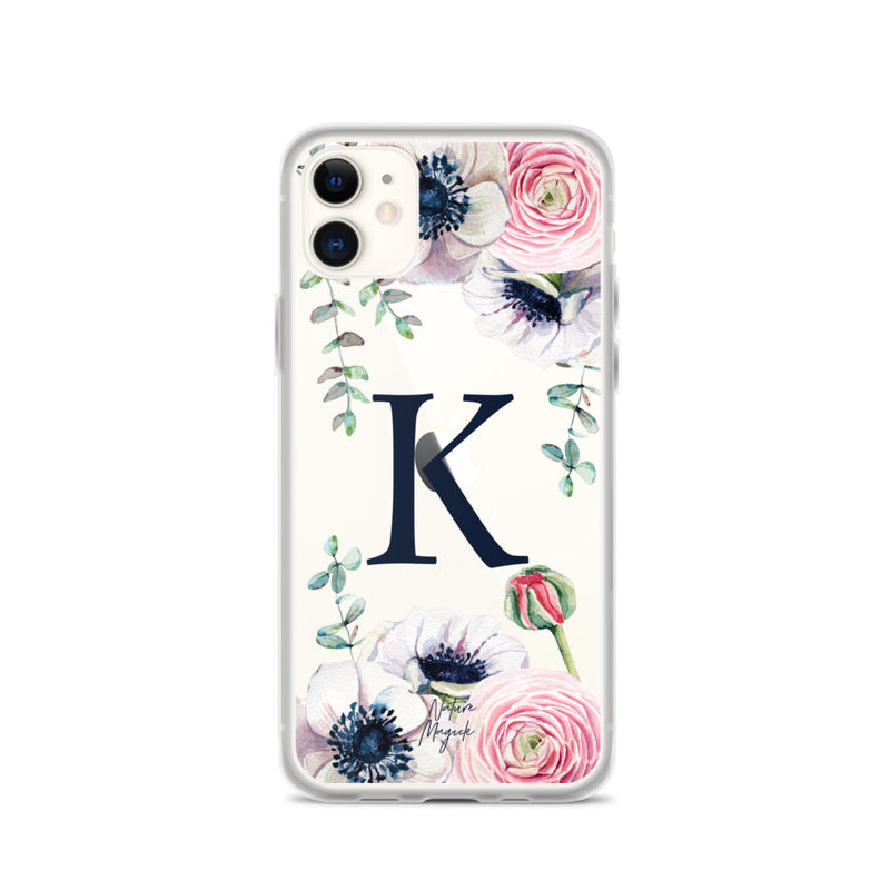 "Clear Monogram iPhone Case Initial ""K"" Rose Flowers by Nature Magick"