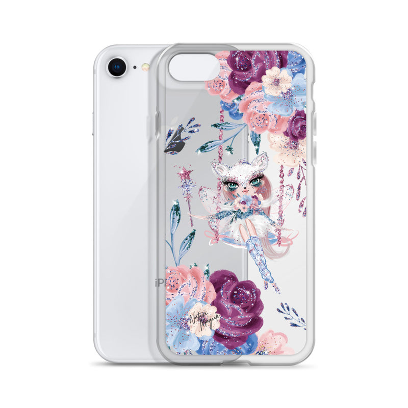 Clear Winter Fox Fairy Floral iPhone Case by Nature Magick