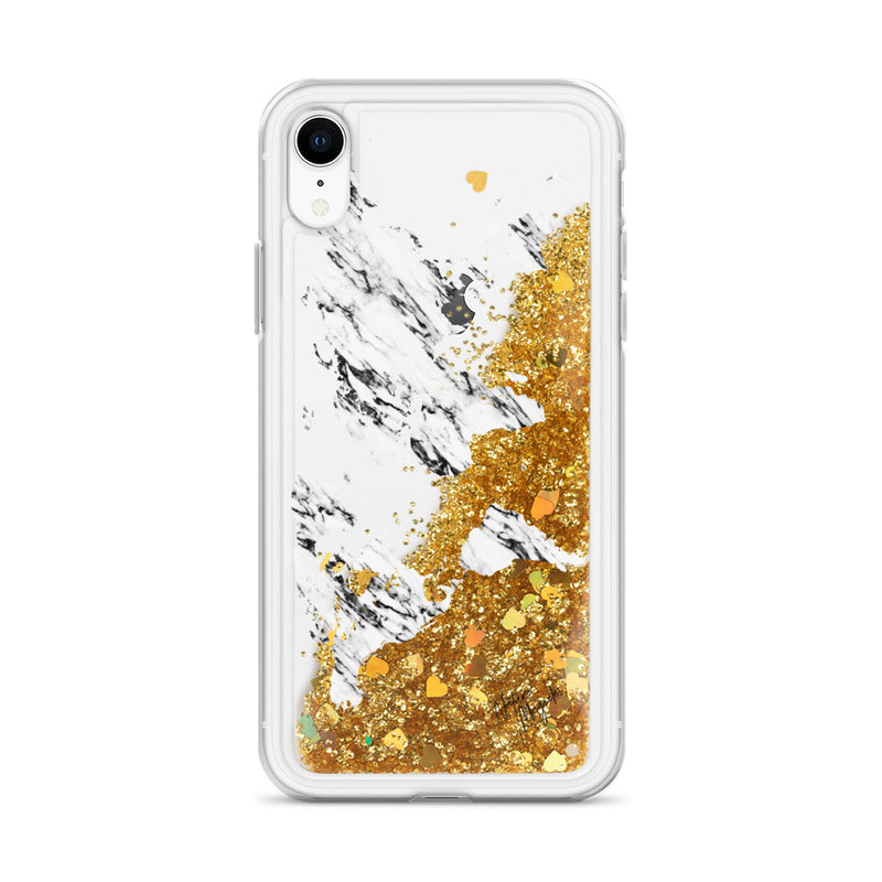 World Map Marble Glitter iPhone Case by Nature Magick