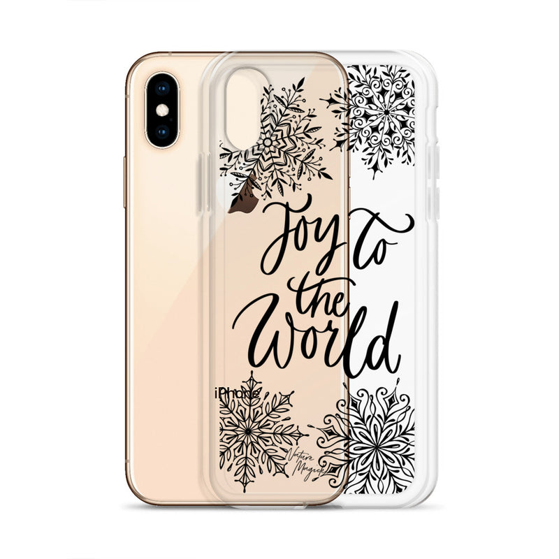 Clear Christmas iPhone Case Joy to the World Snowflakes by Nature Magick
