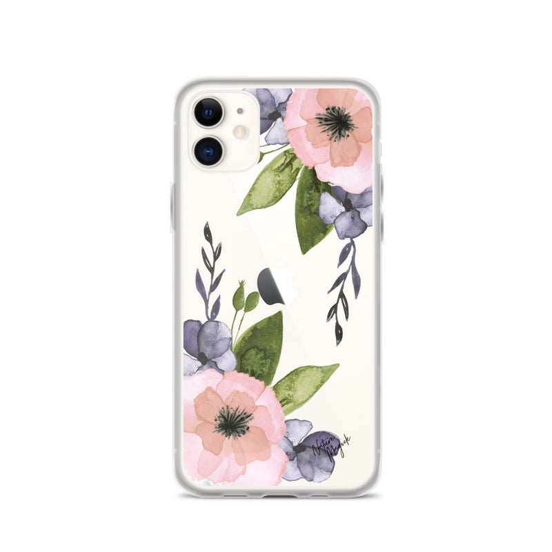 Clear Floral iPhone Case Pink Purple Flower by Nature Magick