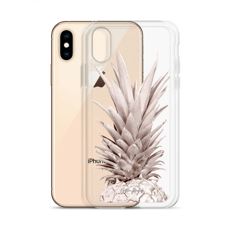 Clear Rose Gold Pineapple iPhone Case by Nature Magick