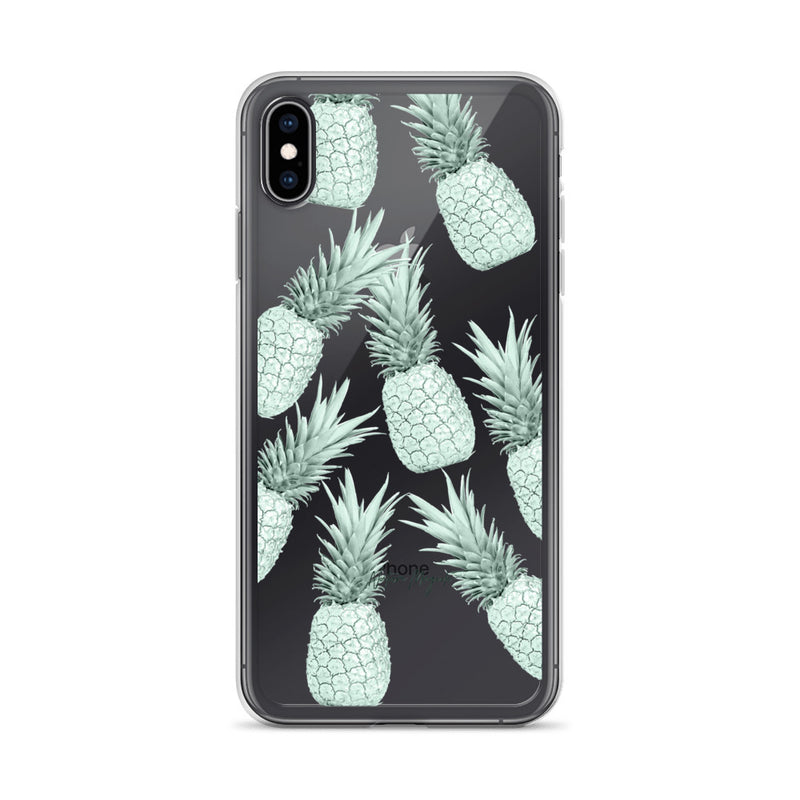 Clear Pineapple iPhone Case in Green Pattern by Nature Magick