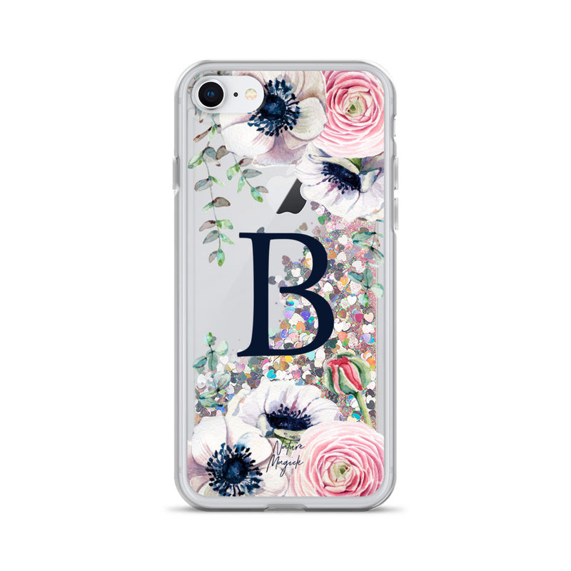 "Monogram Glitter iPhone Case Initial ""B"" Rose Floral by Nature Magick"