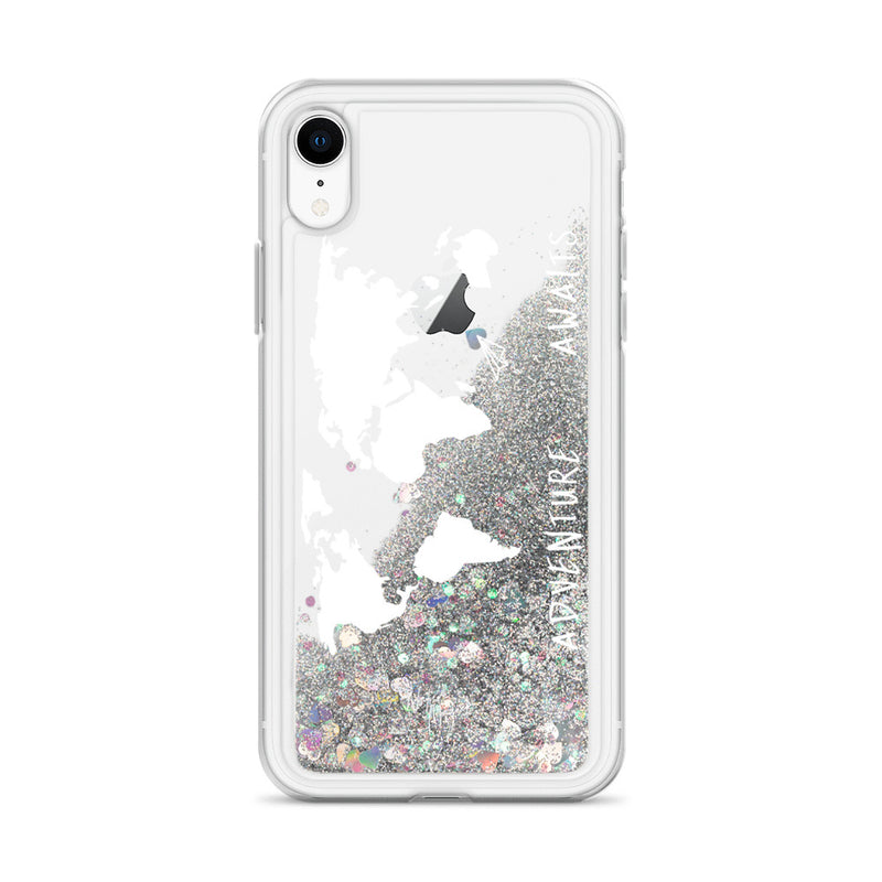 World Map Glitter iPhone Case Adventure Awaits White by Nature Magick
