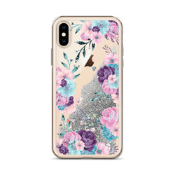 Flower Glitter iPhone Case in Turquoise, Pink, and Purple Rose by Nature Magick