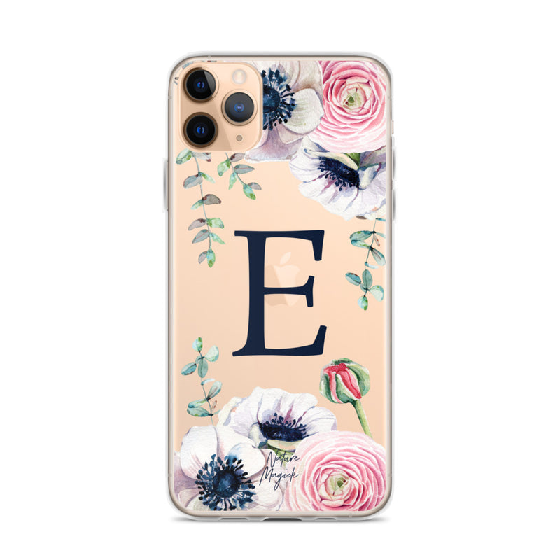 "Clear Monogram iPhone Case Initial ""E"" Rose Flowers by Nature Magick"