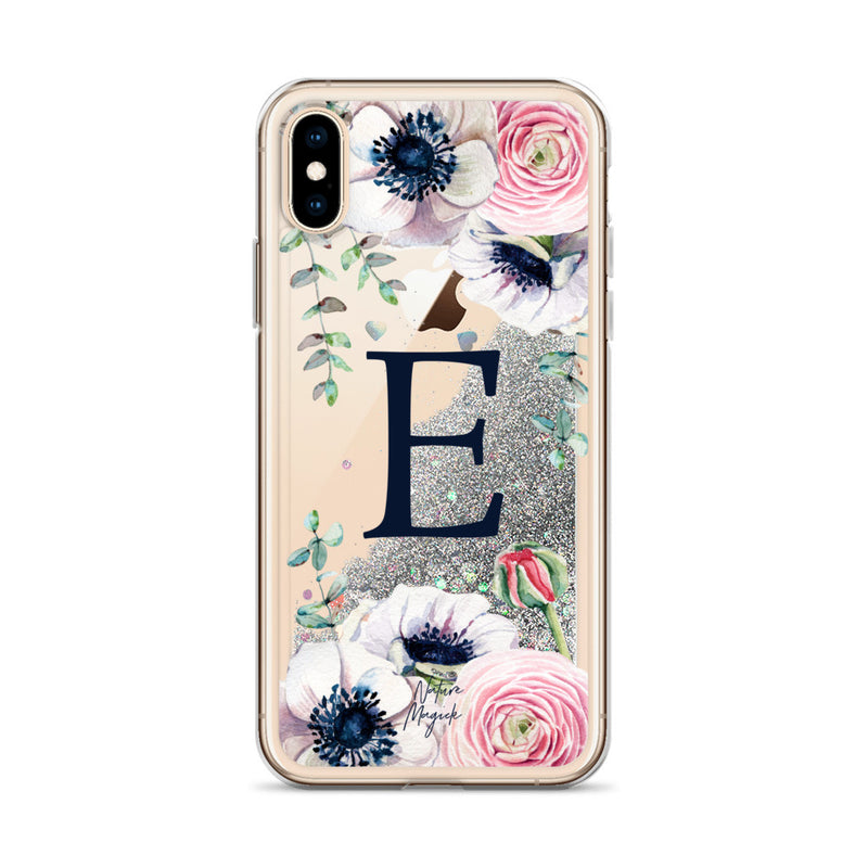 "Monogram Glitter iPhone Case Initial ""E"" Rose Floral by Nature Magick"