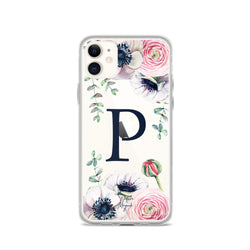 "Clear Monogram iPhone Case Initial ""P"" Rose Flowers by Nature Magick"