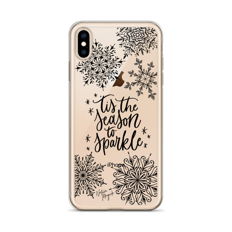 Clear Christmas iPhone Case 'Tis the Season to Sparkle by Nature Magick