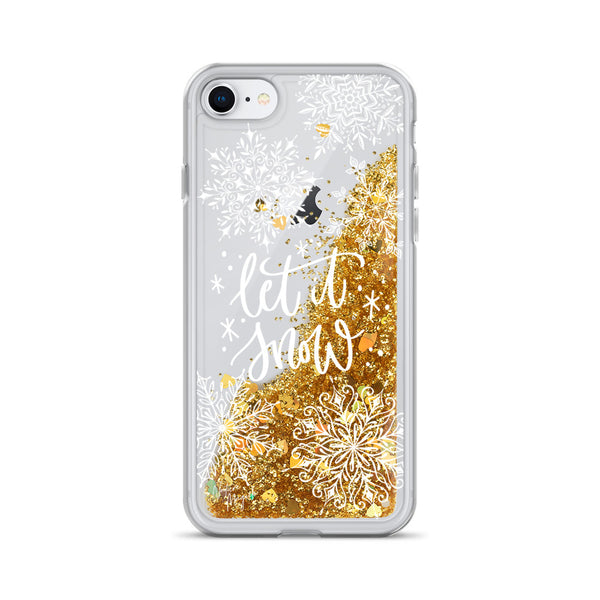 Christmas Glitter iPhone Case Let it Snow by Nature Magick