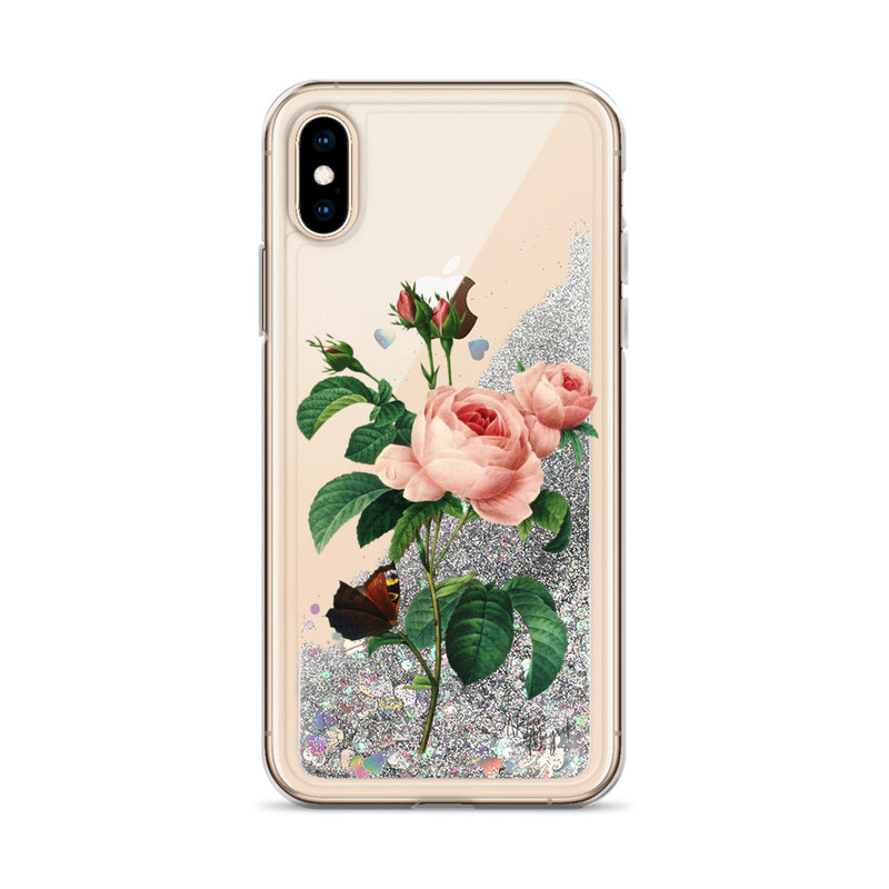 Vintage Floral Glitter iPhone Case Rose Pink Roses and Butterfly by Nature Magick
