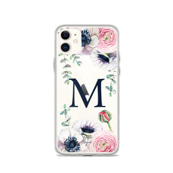 "Clear Monogram iPhone Case Initial ""M"" Rose Flowers by Nature Magick"
