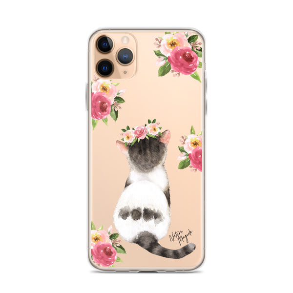 Clear Floral Cat Phone Case for iPhone by Nature Magick