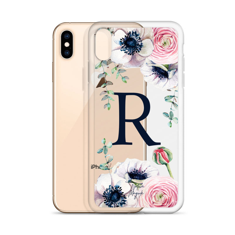 "Clear Monogram iPhone Case Initial ""R"" Rose Flowers by Nature Magick"