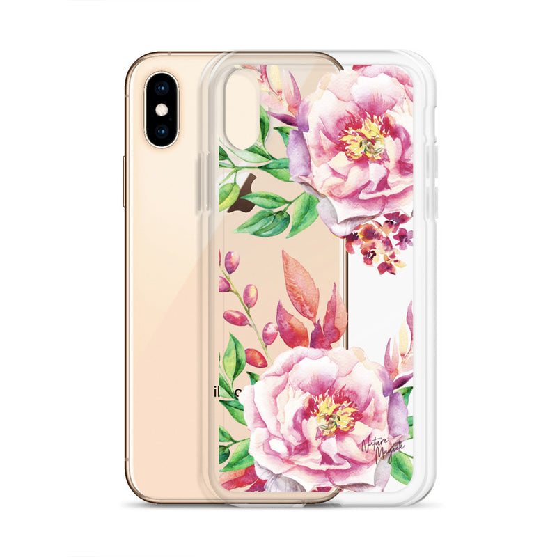 Clear Flower iPhone Case Pink Roses by Nature Magick