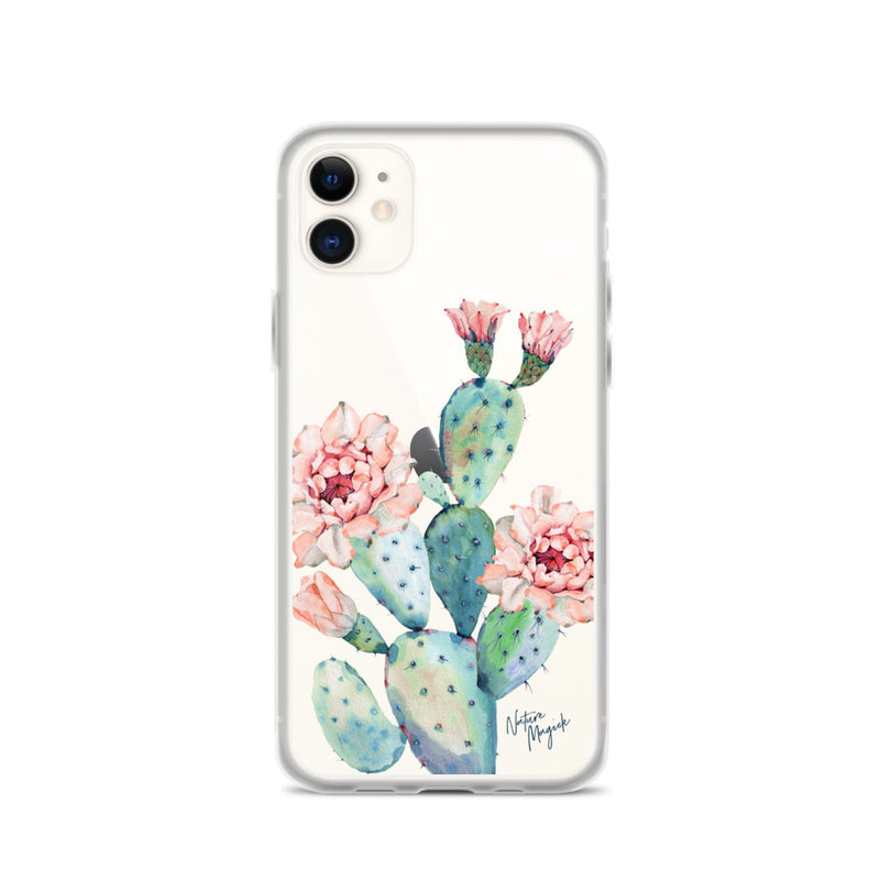 Clear Cactus iPhone Case Rose Flower by Nature Magick