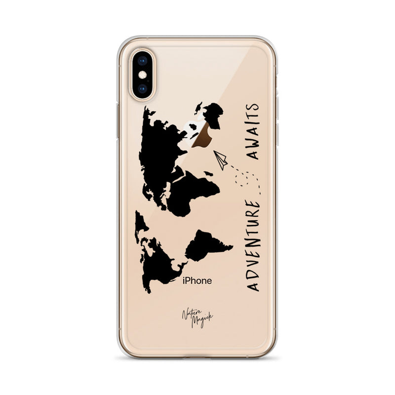 Clear World Map iPhone Case Adventure Awaits Black by Nature Magick