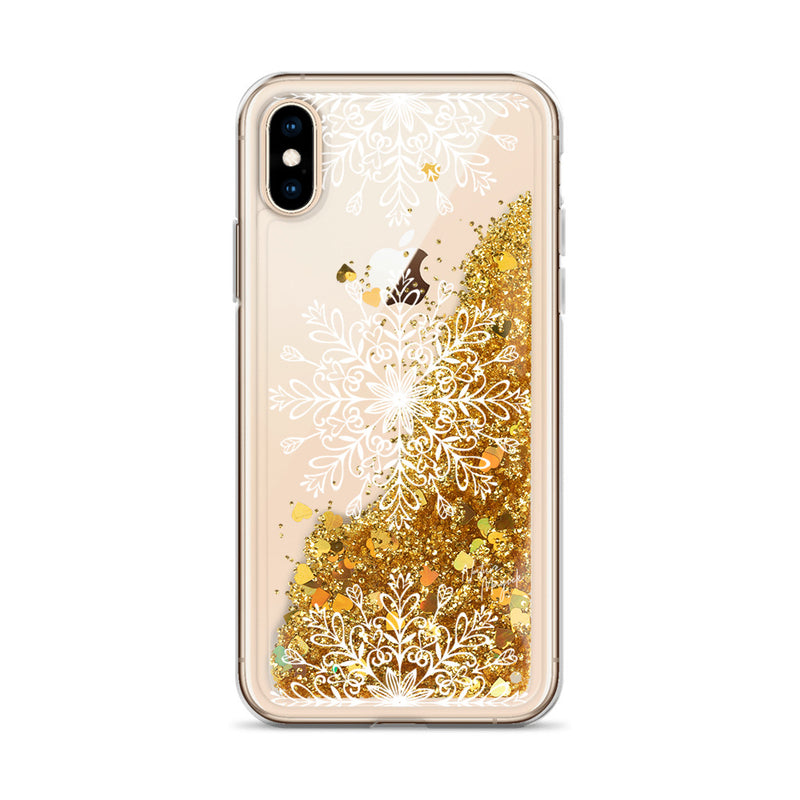 Christmas Glitter iPhone Case White Snowflakes by Nature Magick