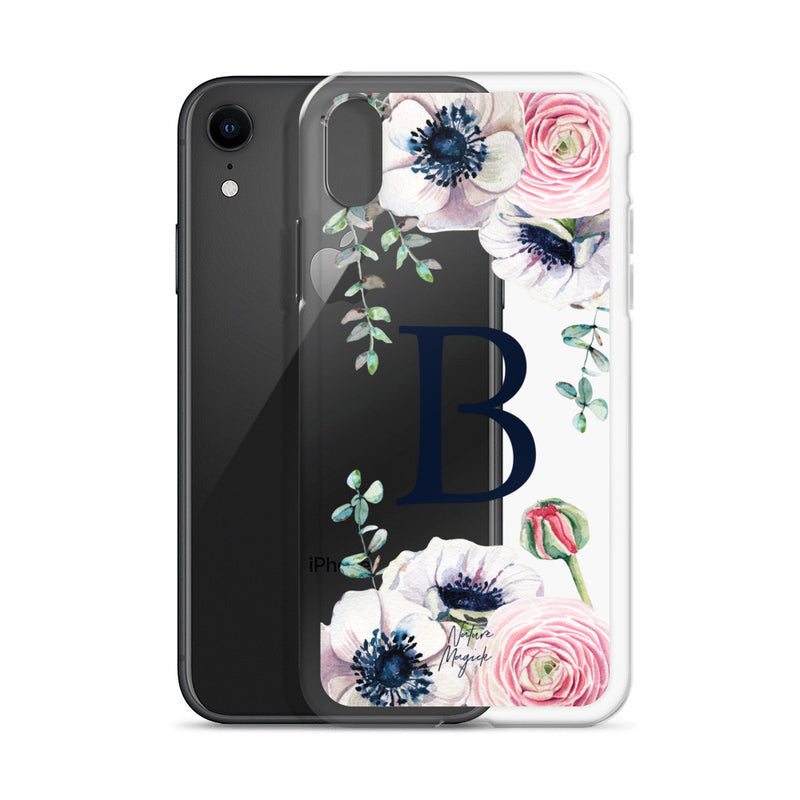"Clear Monogram iPhone Case Initial ""B"" Rose Flowers by Nature Magick"
