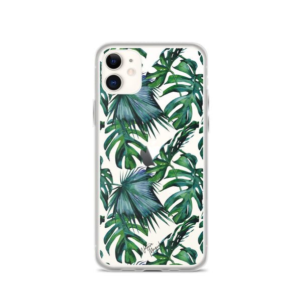 Clear Tropical Palm Leaf iPhone Case Pattern by Nature Magick