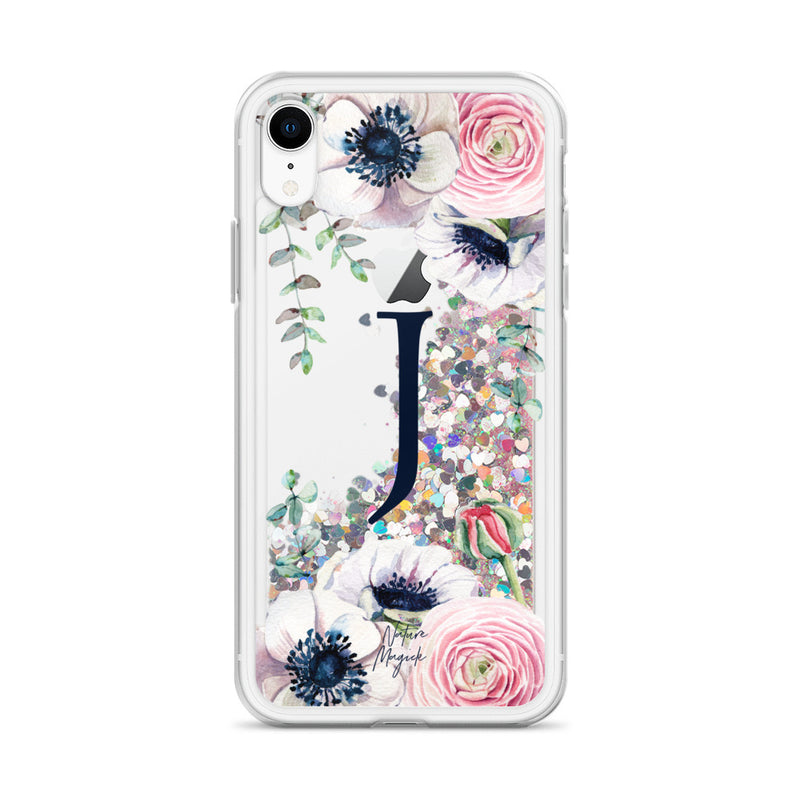 "Monogram Glitter iPhone Case Initial ""J"" Rose Floral by Nature Magick"