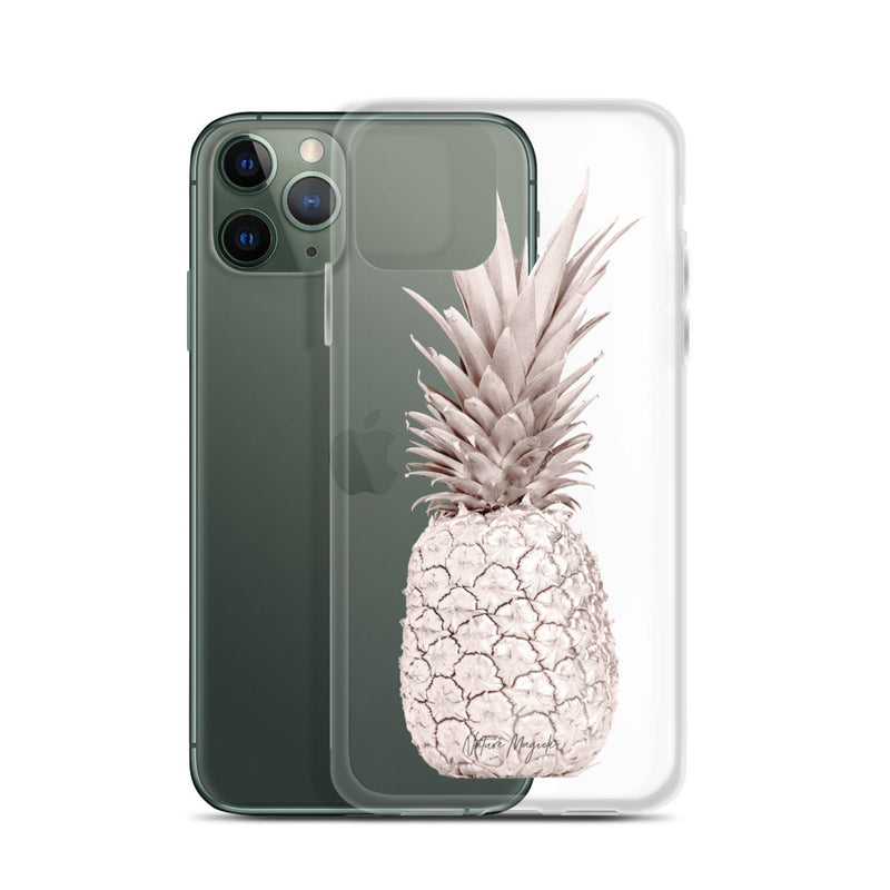 Clear Rose Gold Pineapple iPhone Case Design by Nature Magick