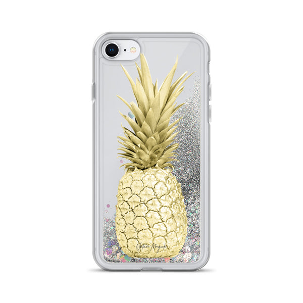 Yellow Gold Pineapple Glitter iPhone Case by Nature Magick