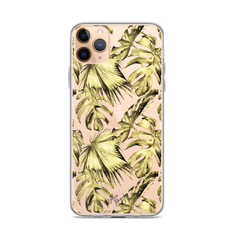Clear Yellow Palm Leaf iPhone Case by Nature Magick