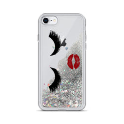 Eyelashes and Lipstick Glitter iPhone Case by Nature Magick