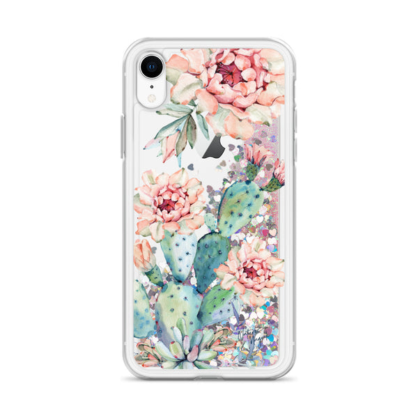 Cactus Glitter iPhone Case Floral Roses by Nature Magick