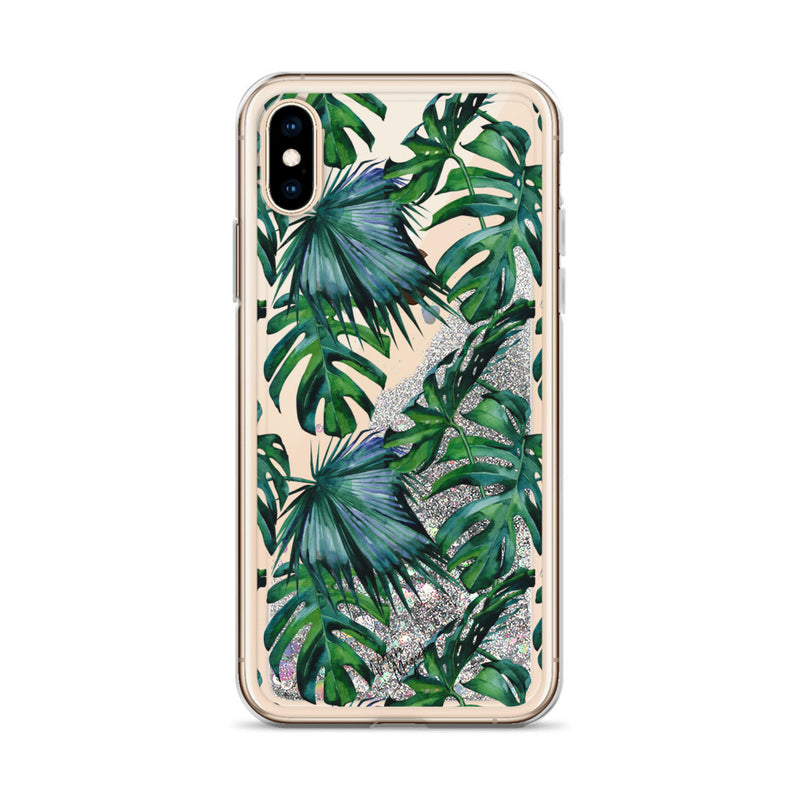 Tropical Palm Leaf Glitter iPhone Case Pattern by Nature Magick