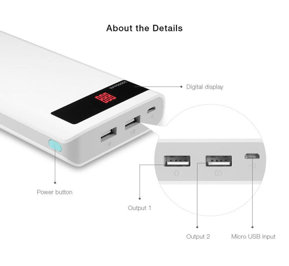 Romoss Sense 6p 30,000mAh Power bank - White - My Gadgets World