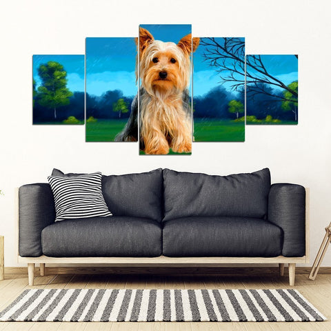 Cute Yorkie(Yorkshire Terrier) Print 5 Piece Framed Canvas- Free Shipping-Paww-Printz-Merchandise