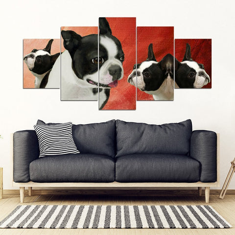 Boston Terrier Print-5 Piece Framed Canvas- Free Shipping-Paww-Printz-Merchandise