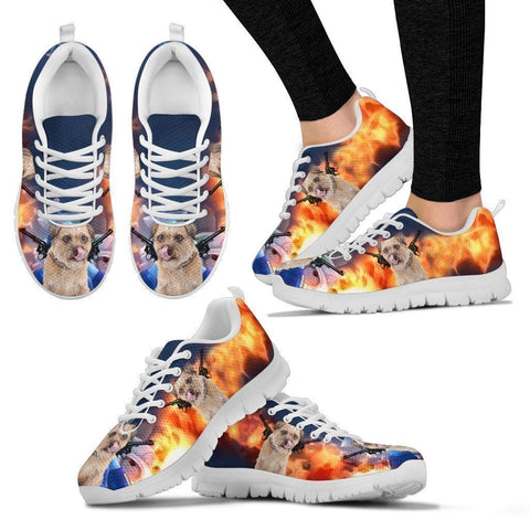 'Hero' Border Terrier Dog Print Running Shoes For Women-Free Shipping-Paww-Printz-Merchandise