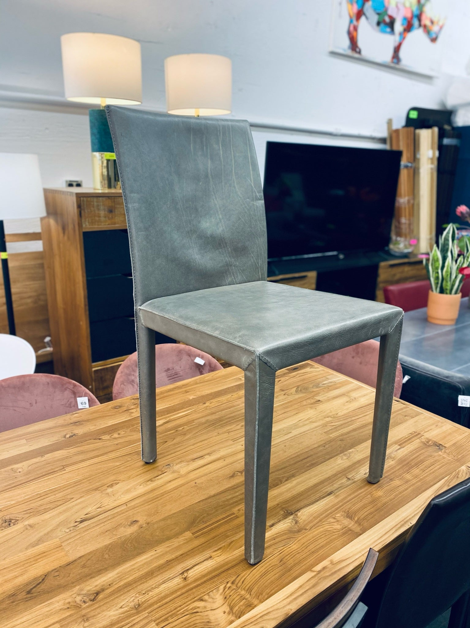 Crate & Barrel Folio Stone Grey Top Grain Leather Dining Chair – TRIBE
