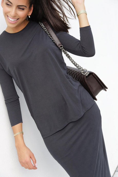 Soft Grey Ribbed Top