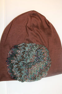 Brown Beanie with Zig Zag Detail