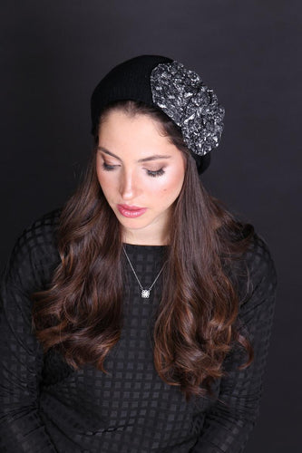 Black Beret with Black and White Print