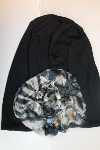 Black Beanie with Brown and Black Pattern Detail