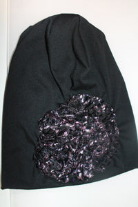 Black Beanie with Pink and Black Velvet Detail