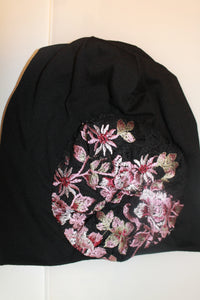 Black Beanie with Pink Embroidered Flowers