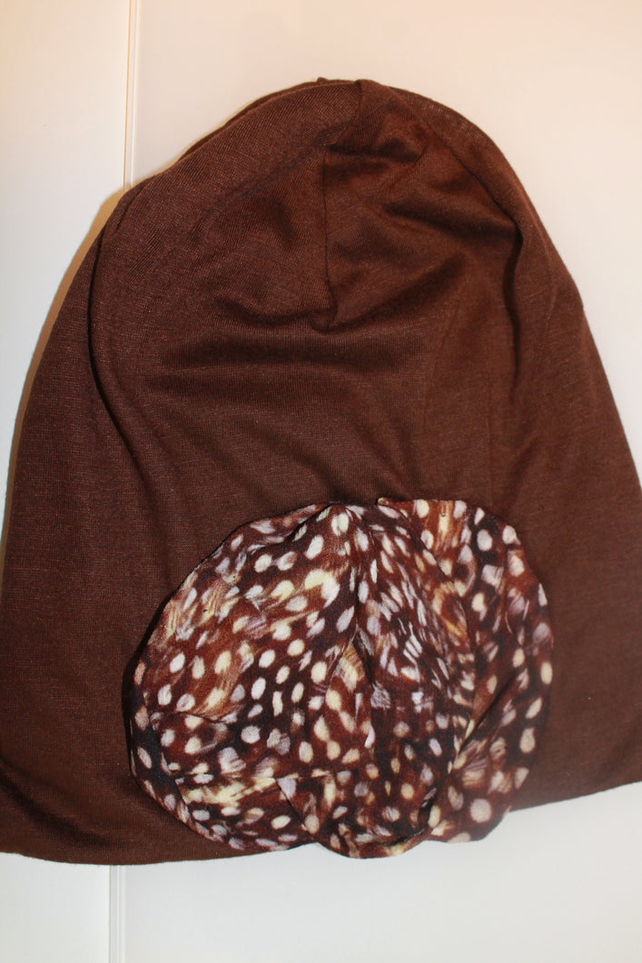 Brown Beanie with Cheetah Print